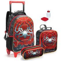 Kit Mochila Infantil Meninos Escolar Aranha Spider G 2 em 1 Com Lancheira e Estojo - Seanite