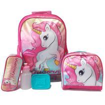 Kit Mochila Infantil Unicórnio Fantasy Rodinhas 2019 - School Bags