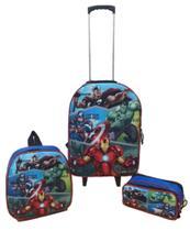 Kit Mochila Infantil Vingadores Avengers Azul - Outras Marcas