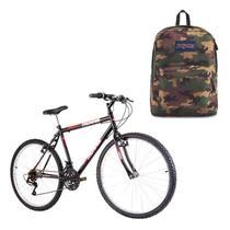 Kit Mochila Jansport SuperBreak Surplus Camo + Bicicleta Track & Bikes Thunder Aro 26 - Track & Bikes / Jansport