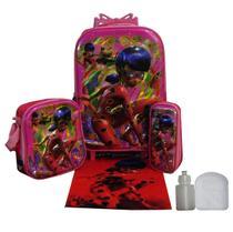 Kit Mochila Ladybug Feminina Infantil Rodinhas Escolar Aulas - Outras marcas