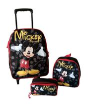 Kit Mochila Mickey Mouse Escolar Rodinhas - DB