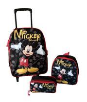 Kit Mochila Mickey Mouse Escolar Rodinhas - Outras Marcas