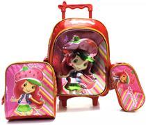 Kit Mochila Moranguinho Infantil 3d Rodinhas G Feminina - Luxcel