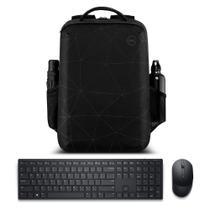 """Kit Mochila para Notebook Dell Essential 15.6"""" + Teclado e Mouse sem fio Dell Pro KM5221W Preto -"""