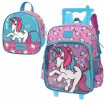 Kit mochila rodinha c/alça escolar infantil up4you unicornio - Luxcel