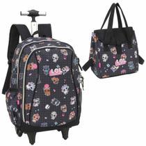 Kit mochila rodinha e lancheira escolar infantil lol preta - Luxcel