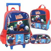 Kit mochila rodinha escolar infantil lele e linguica azul - Luxcel