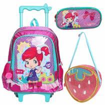 Kit mochila rodinha escolar infantil moranguinho pink - Luxcel