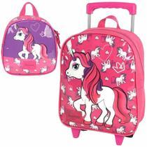 Kit mochila rodinha escolar infantil up4you unicornio pink - Luxcel