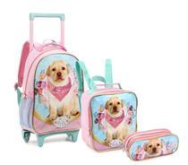 Kit Mochila Rodinha Infantil Feminina Seanite Cachorro Pets -