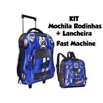 8666c045a7 Kit Mochila Rodinhas e Lancheira Carro Fast Machine Azul Clio Style