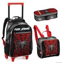 Kit Mochila Rodinhas Infantil Menino Dark Spider Denlex -