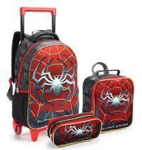 Kit Mochila Rodinhas Infantil Menino Super Spider Seanite -