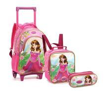 Kit Mochila Rodinhas Infantil Princesa Seanite Kt14550 Rosa -