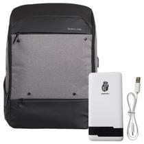 Kit mochila shaolong gh81 - cinza + bateria portatil pn961 chnpineng branco -
