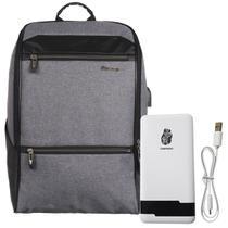 Kit mochila shaolong ij51 - cinza + bateria portatil pn961 chnpineng branco -