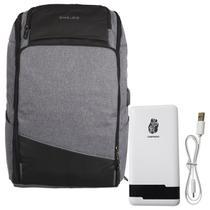 Kit mochila shaolong ij75b - cinza + bateria portatil pn961 chnpineng branco -