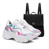 Kit Mochila + Tênis Sneaker Feminino Vicerinne Tie Dye Macio -