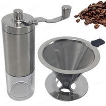 Kit Moedor de Café e Coador Filtro em Inox Regulagem De Grão - Facibom