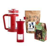 Kit  Moedor manual Bialetti Vermelho + Prensa Francesa Smart Vermelha 1L +  Café em grãos SM Roseirinha 250g + Quebra-Quebra de Cupuaçu -