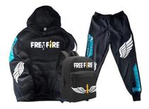 Kit Moletom + Calça + Mochila Free Fire Game Mobile Estilo Battle Royale Angelical Asa Gamer Geek Preto - Smart Stamp