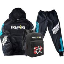 Kit Moletom + Calça + Mochila Free Fire Game Mobile Estilo Battle Royale Angelical Headshot Gamer Geek Preto - Smart Stamp
