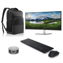 """Kit Monitor Dell 34"""" P3421W + Adaptador Portátil USB-C Caixa de Som + Teclado e Mouse Wireless + Mochila Dell Pro 15,6"""" -"""