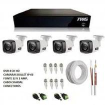 Kit monitoramento com 4 câmaras de segurança - Twg