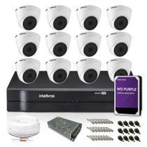 Kit Monitoramento Intelbras com 12 Câmeras de Segurança Dome 1080p -