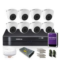 Kit Monitoramento Intelbras com 8 Câmeras de Segurança Dome 1080p -