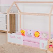 Kit Montessoriano Rolinho para Mini Cama Bebê  Savana Bichinhos 9 Peças - Rosa - Stylo Casa