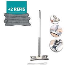 Kit Mop X Esfregão Rodo Limpador piso torce fácil + 2 Refil - 123Útil