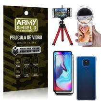 Kit Moto E7 Plus Tripé Flex + Flash Ring + Capa Anti Impacto + Película 3D - Armyshield -