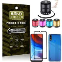 Kit Moto E7 Power Mini Som Bluetooth + Capa Anti Impacto + Película Vidro 3D - Armyshield -