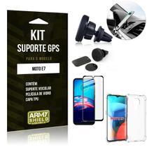 Kit Moto E7 Suporte Veicular Magnético + Capa Anti Impacto + Película Vidro 3D - Armyshield -