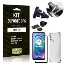 Kit Moto G10 Suporte Veicular Magnético + Capa Anti Impacto + Película Vidro 3D - Armyshield -