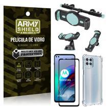 Kit Moto G100 5G Suporte Veicular 3 em 1 + Película 3D + Capa Anti Impacto - Armyshield -