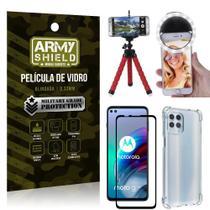 Kit Moto G100 5G Tripé Flex + Flash Ring + Capa Anti Impacto + Película 3D - Armyshield -