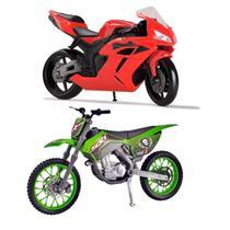Kit Moto Miniatura Racing + Motocross Pneus De Borracha - Roma Brinquedos