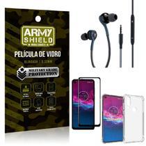 Kit Moto One Action Fone Extreme + Capa Anti Impacto + Película 3D - Armyshield -