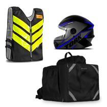 Kit Motoboy Mochila Bolsa Térmica + Capacete R8 + Colete Refletivo - Pro tork