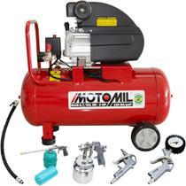 Kit Motocompressor de Ar 8,7 pés³/min 2,0CV 50 Litros 220V com Kit Pintura - Motomil -