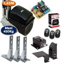 Kit Motor Portão Basculante 1/4 Hp Maxi 1,40 m Trava 3 Suportes 3 Controles 1 Tx Car - Rcg