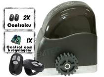 KIT MOTOR PORTÃO DESLIZANTE AL 450Kg 1/4CV 127V ou 220V + 2 CONTROLES SEM CREMALHEIRAS - RCG