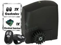 KIT MOTOR PORTÃO DESLIZANTE RCG PL 300Kg 1/5CV 127V ou 220V + 2 CONTROLES SEM CREMALHEIRAS -