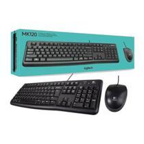 Kit Mouse e Teclado Logitech MK120 USB Com Fio Preto ABNT2 -