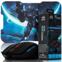 Kit mouse gamer led usb desktop notebook 6 botoes e mousepad profissional - Knup