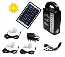 Kit Mp3 Carregador Led Luz Camping Placa Solar Lâmpada Controle - GD Plus