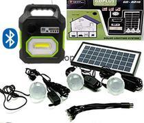 Kit Mp3 Carregador Rádio Led Luz Camping Placa Solar Lâmpada Bluetooth - Gd Plus